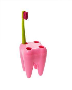 Obrázek Zub - držák na kartáčky - růžový