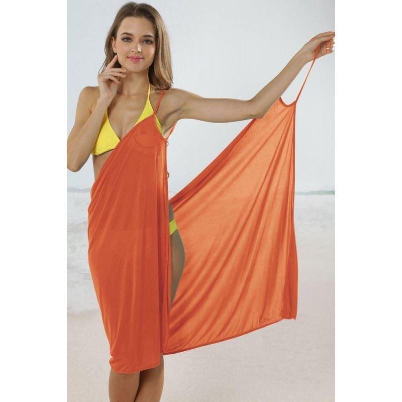 Plážové zavinovací šaty - oranžové