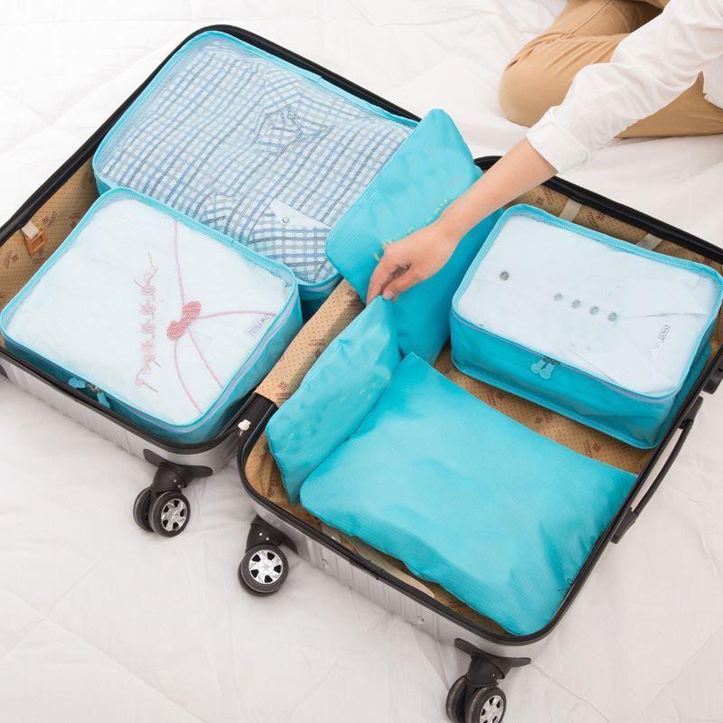 Sada cestovních organizérů do kufru - světle modrá