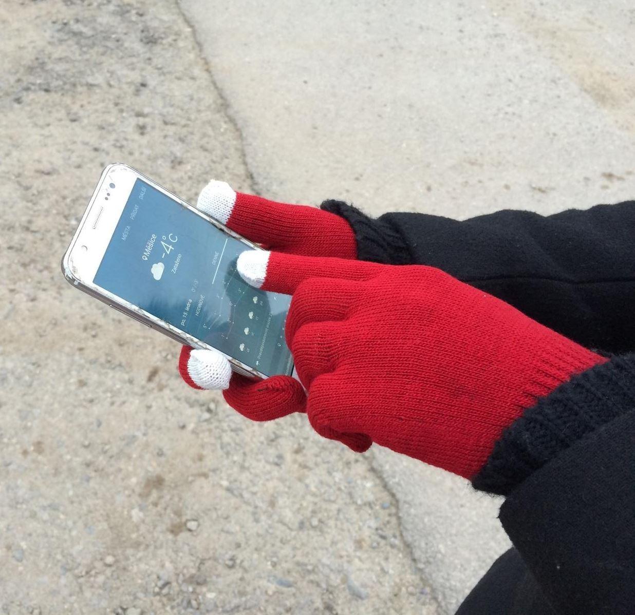 Rukavice pro smartphony (40 g) bordó