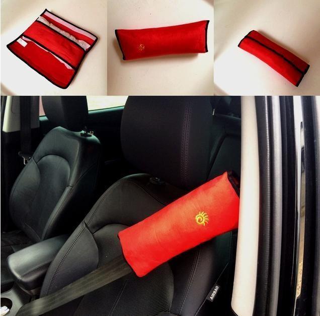 Cestovní polštář do auta na pás - červený