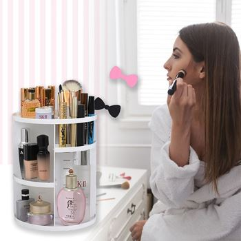 Obrázek Otočný kosmetický organizér - bílý