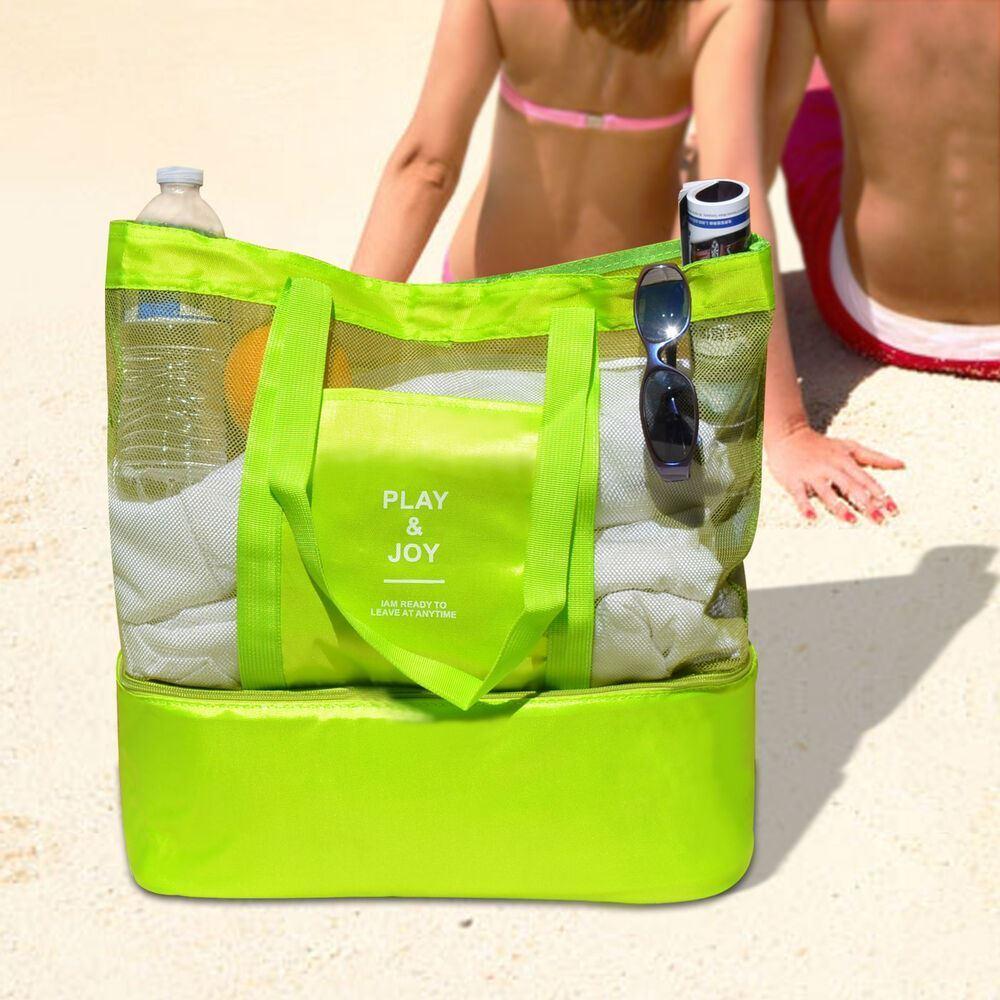 Plážová taška s termo přihrádkou - zelená