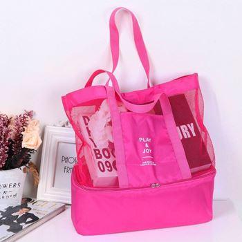 Obrázek Plážová taška s termo přihrádkou - růžová