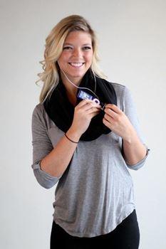 Obrázek Šátek s kapsou - černý