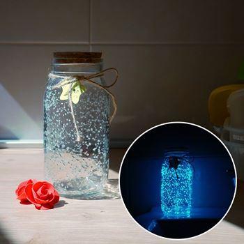 Obrázek Svítící skleněná dóza - bílá/tyrkysová