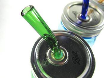Obrázek Zahnuté skleněné brčko - zelené