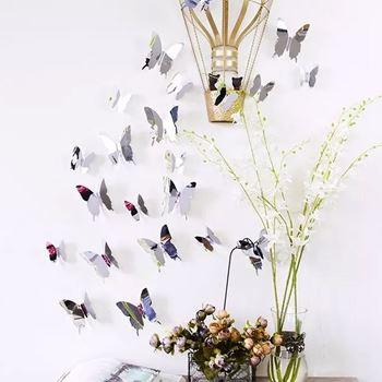 Obrázek Zrcadlový motýl 12 ks - stříbrný