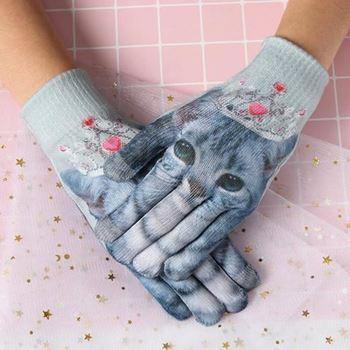 Obrázek Dotykové rukavice s potiskem - kočka