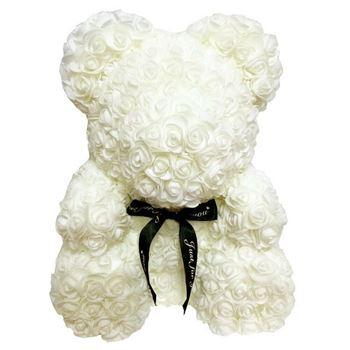 Obrázek Medvídek z růží - bílý