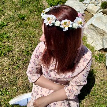 Obrázek Květinová čelenka -  bílá