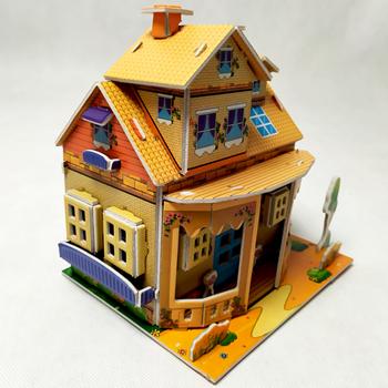 Obrázek 3D puzzle pro děti dům - oranžový