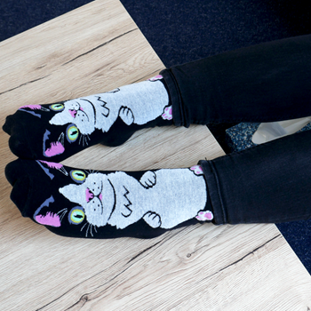 Obrázek Veselé ponožky s kočičkou - černé