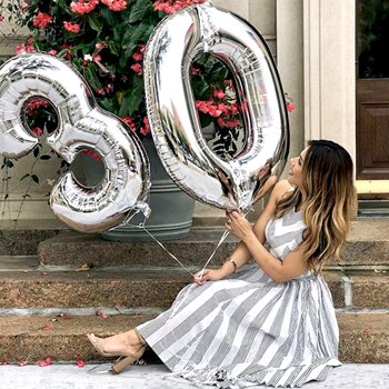 Obrázek Nafukovací balónky čísla maxi stříbrné - 4