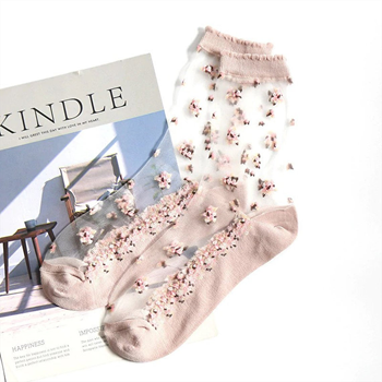 Obrázek Průhledné ponožky s květy -  růžové