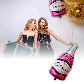 Obrázek Fóliový balónek - růžové šampaňské