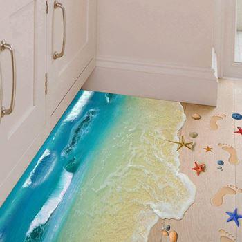 Obrázek 3D samolepky na podlahu - pláž