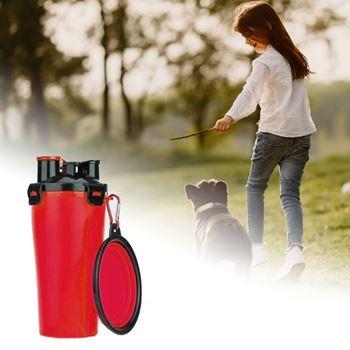 Obrázek Cestovní láhev na vodu a krmivo - červená