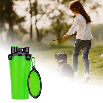 Obrázek Cestovní láhev na vodu a krmivo - zelená