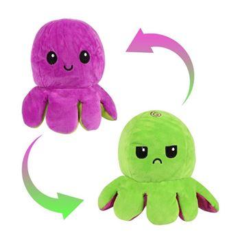 Obrázek Oboustranný plyšák - chobotnice fialová/zelená
