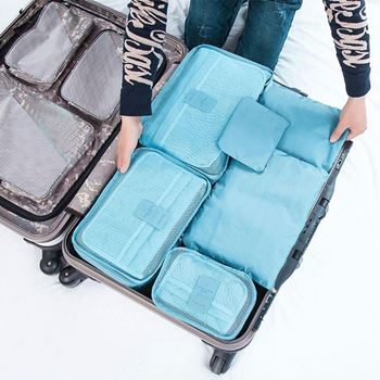 Obrázek Sada cestovních organizérů do kufru - světle modrá