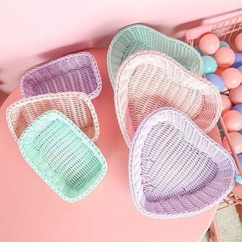 Obrázek z Plastový košík - fialové srdce